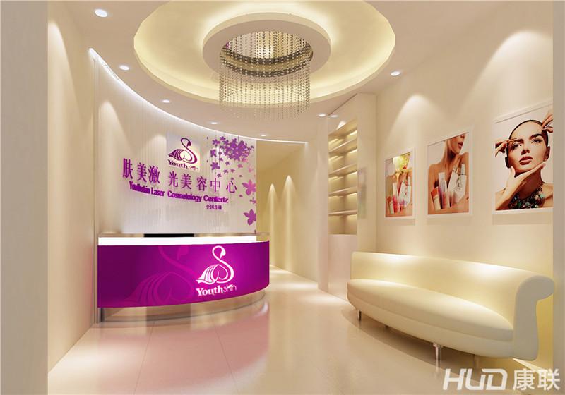 肤美医疗美容诊所装修设计前台效果图