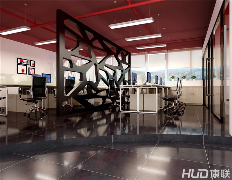对比度广告公司办公室装修前台效果图