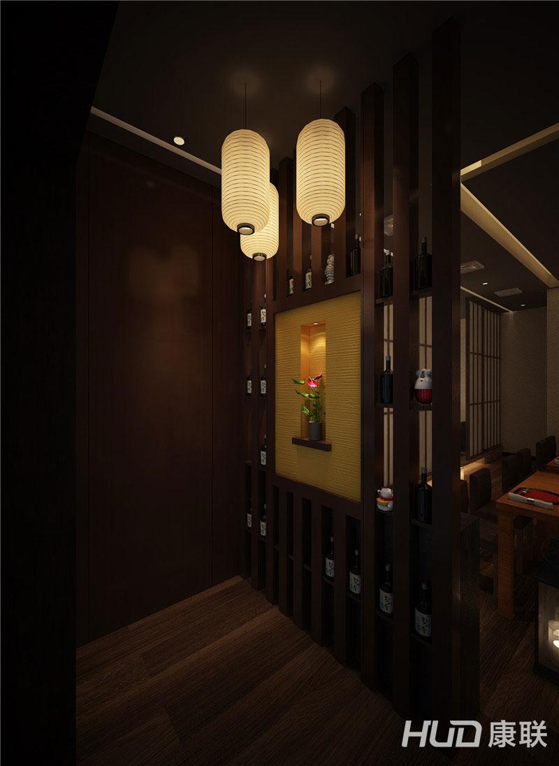 设计理念:枫月日式料理餐厅设计是通过多角度切符合日式餐厅的风格时尚脱俗,独特新颖,在 优雅和情绪饱满的氛围中体现出来本餐厅设计采用的主题效果。内饰采用延续整体风格,采用立体 吊灯灯具装饰。以典雅、 细腻、和谐、纯粹、自然、幽静的一面展示在世人面前。