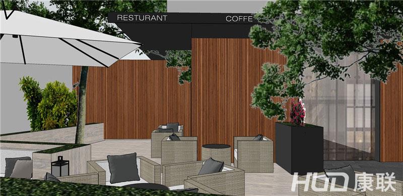斐济餐厅露天餐区设计效果图