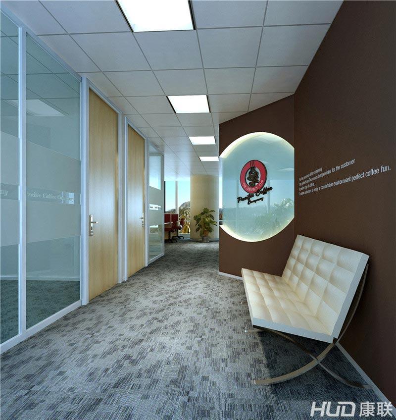 太平洋餐饮公司办公室装修前台效果图